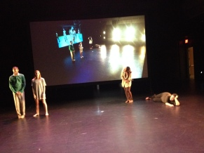 Photo from tech rehearsal of 'Matches' with Justin Fitch, Ella Hackworth, Sheneese Thompson, Ray Graves, with Jess Gore. Nicole inside the dance with live-feed camera.